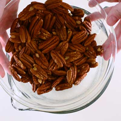Sugar Coated Pecans Step 2 - Add pecans.