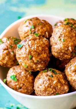 The Best Meatballs! Whether you're prepping for dinner or planning a party, this all-purpose recipe for the best meatballs can fit any occasion. Easy to adjust to your tastes and serving size! | HomemadeHooplah.com