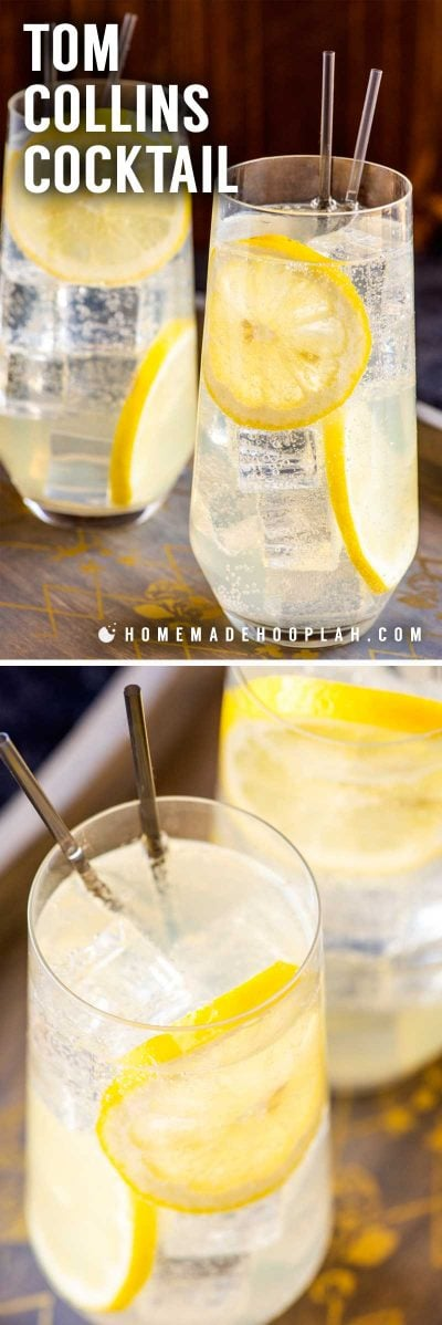 """Tom Collins Cocktail! This classic Tom Collins is the go-to drink for gin lovers that want to add a dash of citrus flavor to an old favorite. Sometimes called a """"sparkling lemonade with gin,"""" the ingredient list is so simple that most home bars can whip one up without a shopping trip. 
