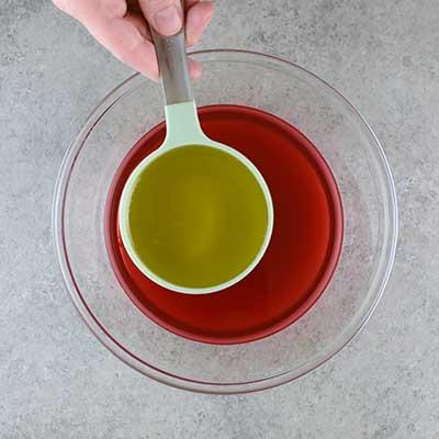 3 Bean Salad Step 1 - Add olive oil.