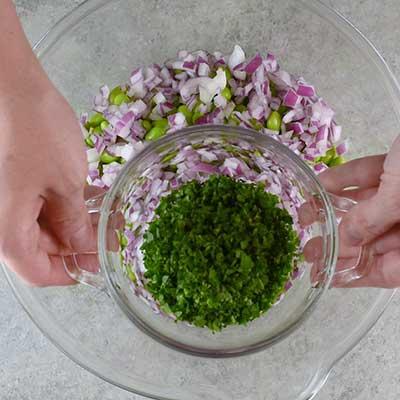 3 Bean Salad Step 2 - Add parsley.