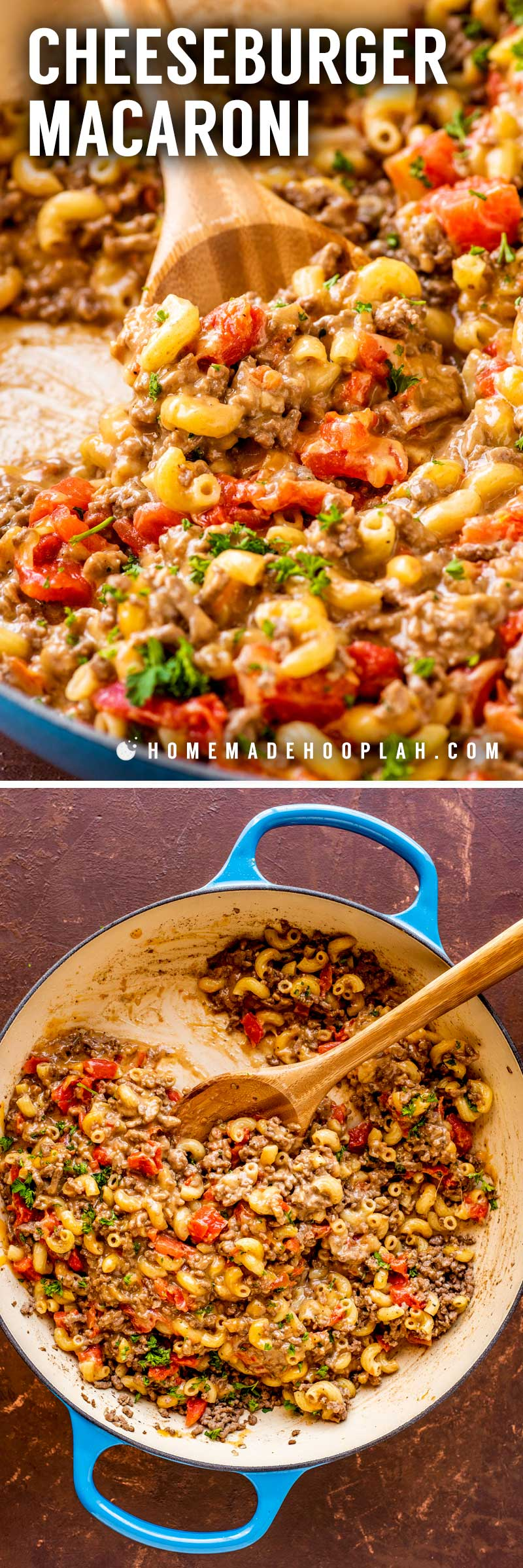Cheeseburger Macaroni! If you're looking for an easy and hassle-free weeknight dinner, this cheeseburger macaroni hits all the marks. With tender pasta and seasoned ground beef that's topped with melted cheese, this dish not only packs a ton of flavor but can be made in one pan from start to finish. | HomemadeHooplah.com