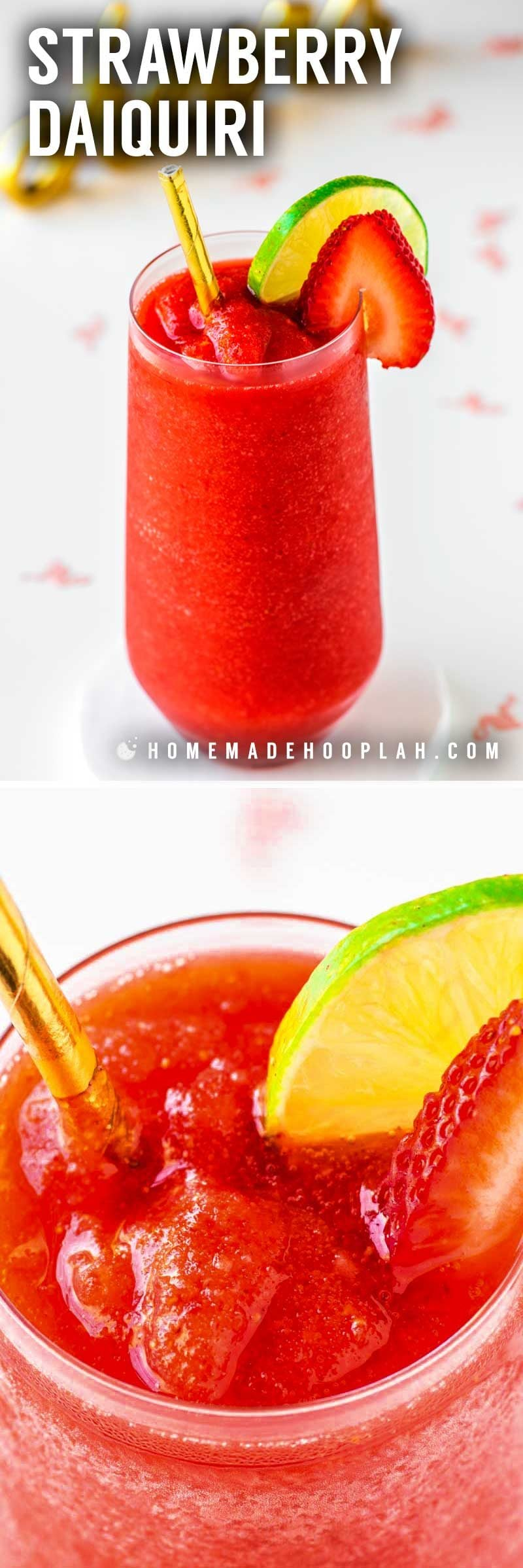 Strawberry Daiquiri! With just four simple ingredients you can skip the mix and make fresh strawberry daiquiris at home. Perfect for cooling down in warmer weather and always a hit at parties! | HomemadeHooplah.com