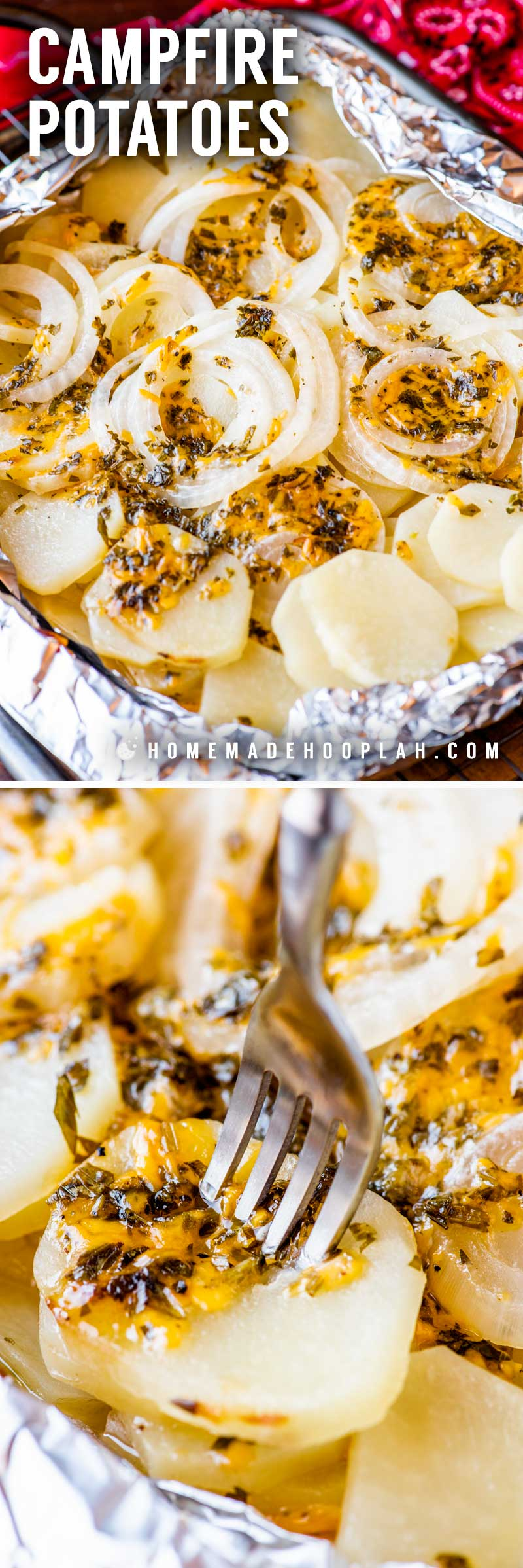 Campfire Potatoes! Whether you're out in the woods or just want the rustic feel at home, these campfire potatoes are a classic summertime side dish that pairs great with all types of meat. Includes instructions for grilling, roasting, or baking. | HomemadeHooplah.com