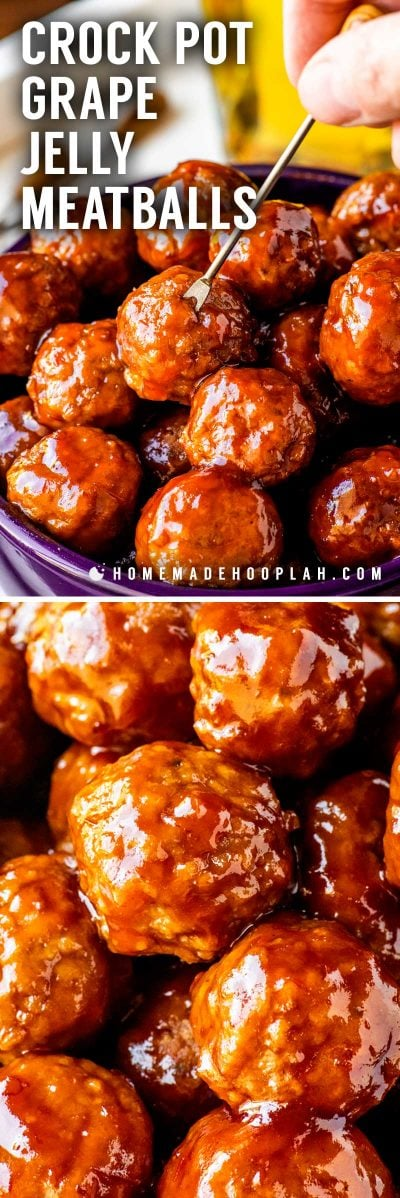 Crock Pot Grape Jelly Meatballs! Tender meatballs slow cooked in a sweet chili sauce made with grape jelly and chili sauce. Makes for a fun changeup of traditional cocktail meatballs and great for serving at parties and potlucks. | HomemadeHooplah.com