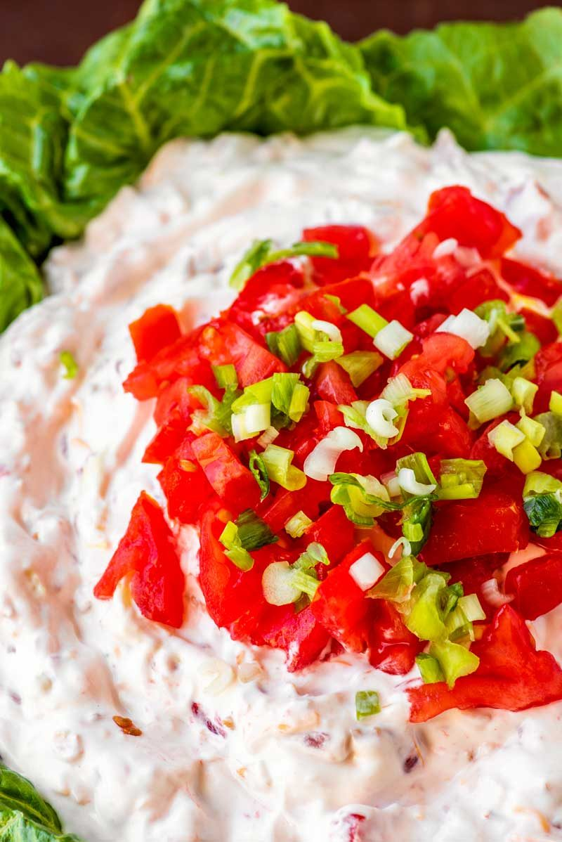 Creamy chilled BLT dip with bacon bits.