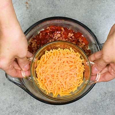 BLT Dip Step 1 - Add cheddar cheese.