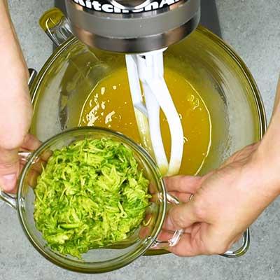Chocolate Zucchini Bread Step 3 - Add zucchini.