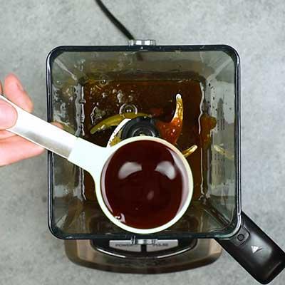 Homemade BBQ Sauce Step 1 - Add red wine vinegar.
