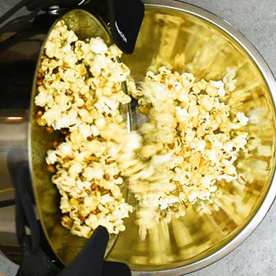 Homemade Kettle Corn Step 3 - Transfer popcorn to a fresh bowl.