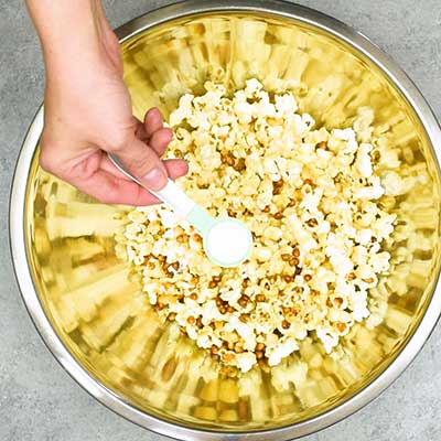 Homemade Kettle Corn Step 3 - Season with salt.
