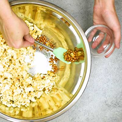 Homemade Kettle Corn Step 3 - Scoop out unpopped kernels.