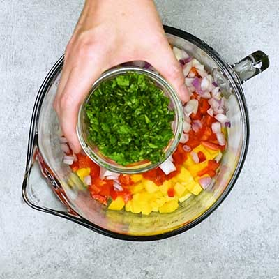 Mango Salsa Step 1 - Add cilantro.