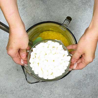 Pina Colada Fluff Step 2 - Add marshmallows.