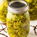 Cowboy Candy! Whether you call them candied jalapenos or cowboy candy, these little slices of sweet heat make for a great gift or a fun new topping for your favorite crackers, dips, or salads. | HomemadeHooplah.com