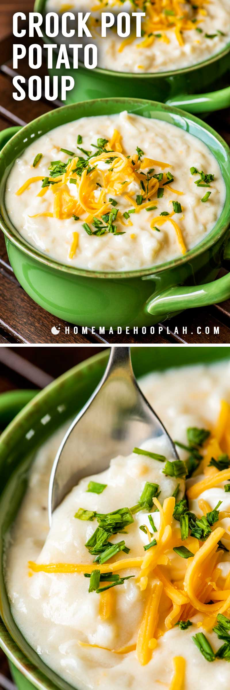 Crock Pot Potato Soup! This ultra thick and creamy crock pot potato soup is made with shredded potatoes, thick broth, and creamy cheese. It's pure comfort food for any time of year! | HomemadeHooplah.com
