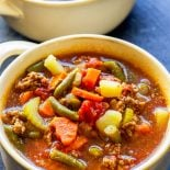 Hamburger Soup! Savory and hearty hamburger soup made with potatoes, carrots, and other veggies is the ideal comfort food for all year long. Great as an appetizer, side, or dinner, and it freezes well, too. | HomemadeHooplah.com
