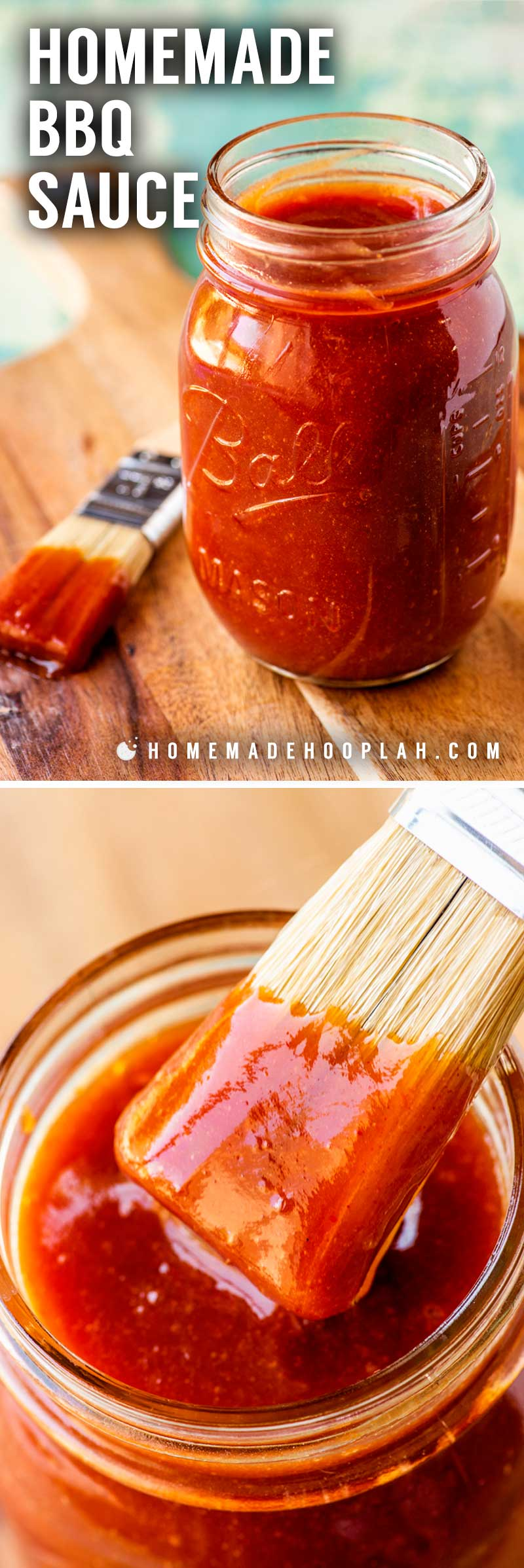 Homemade BBQ Sauce! Make classic BBQ sauce at home in less than 5 minutes by taking common sauces and spices and whipping them up in a food processor (so no cooking required!) It's a must-have recipe for countless crowd-pleasing dishes! | HomemadeHooplah.com
