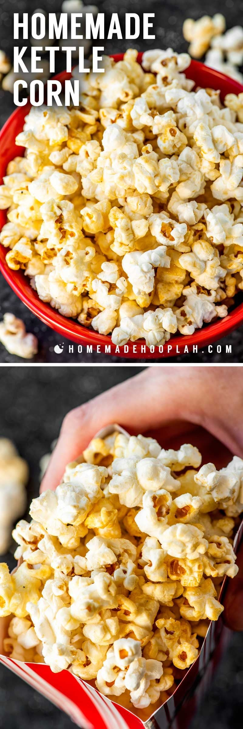 Kettle popcorn made on the stovetop.