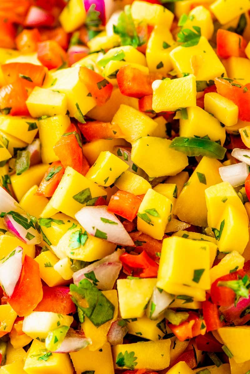 Refreshing mango salsa with jalapeno peppers.