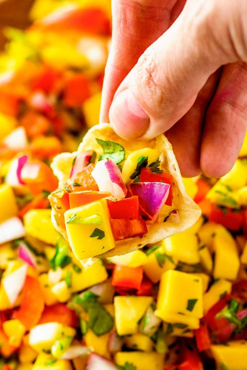 How to make homemade mango salsa.