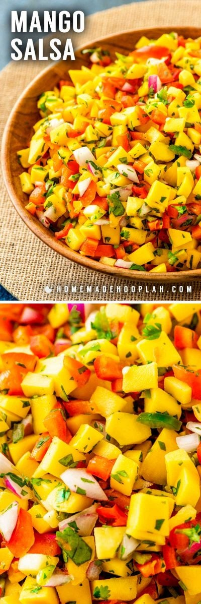 Mango Salsa! Classic and refreshing mango salsa made with mango, red peppers, onion, cilantro, lime juice, and an (optional!) dash of jalapeno peppers. Perfect as an easy party dip or a garnish with steak, chicken, or seafood.   HomemadeHooplah.com