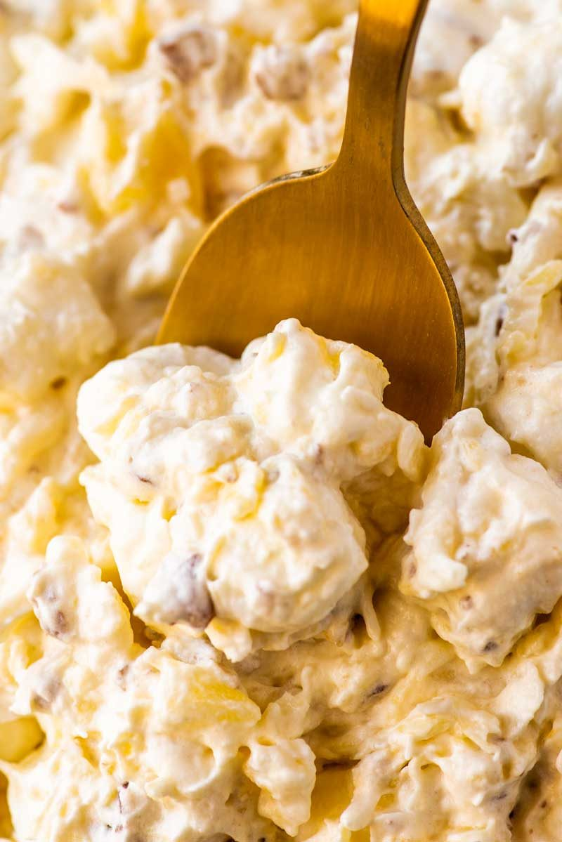 Simple recipe for chilled pina colada fluff salad.