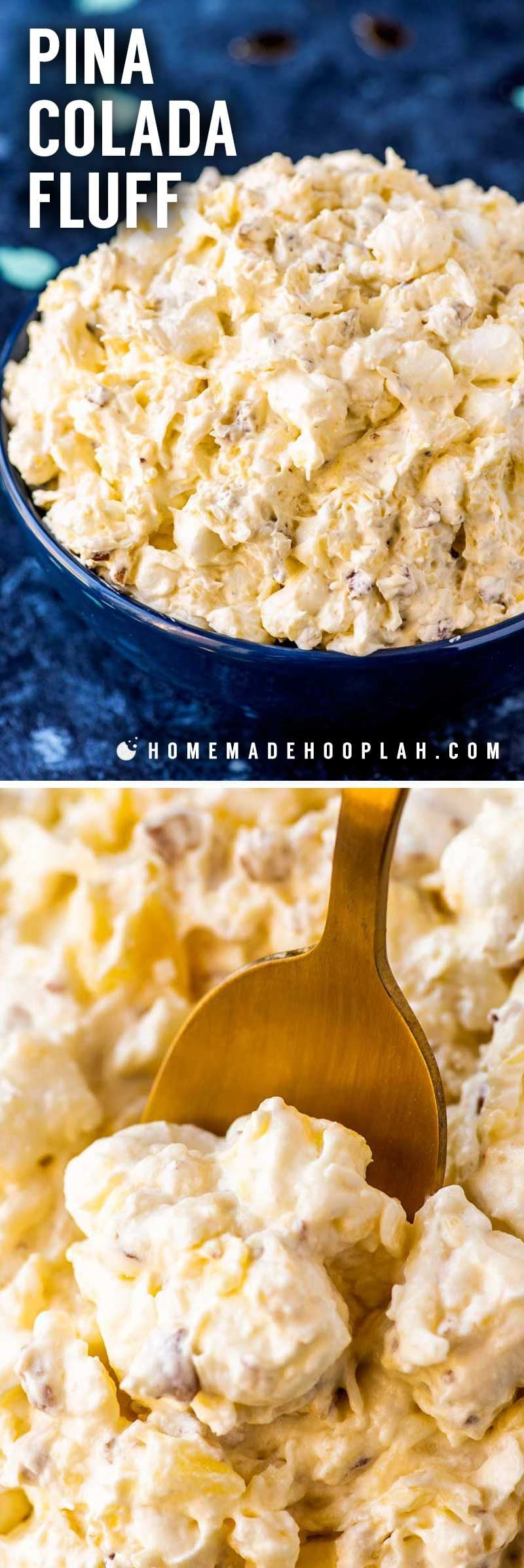 Pina Colada Fluff! Whether you need an easy side dish or a simple dessert, this pineapple and coconut infused pina colada fluff is a great choice that only takes 5 minutes to whip up. | HomemadeHooplah.com