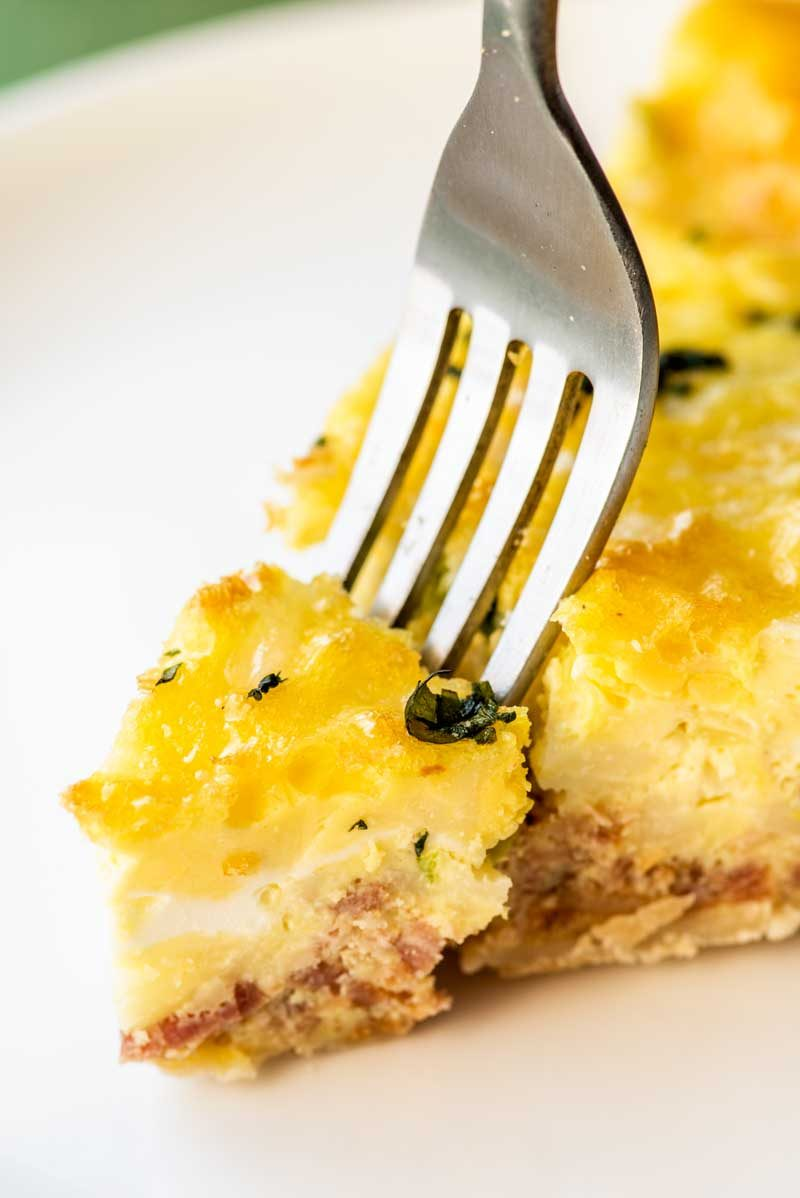 Quiche Lorraine with bacon and swiss cheese.