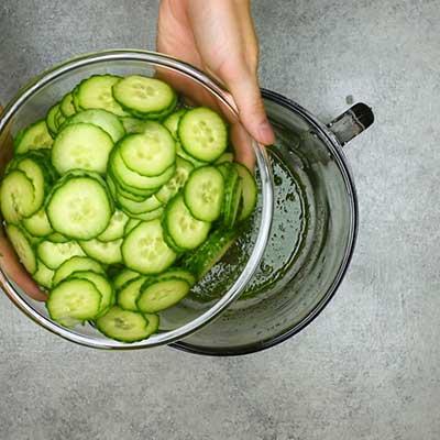 Cucumber Salad Step 2 - Add cucumbers.