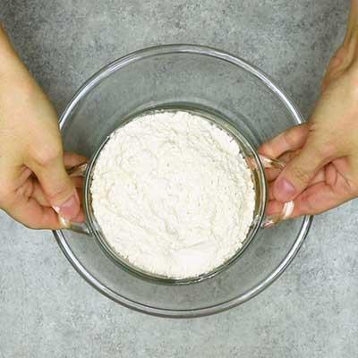 Strawberry Cream Cheese Bread Step 1 - Add flour.