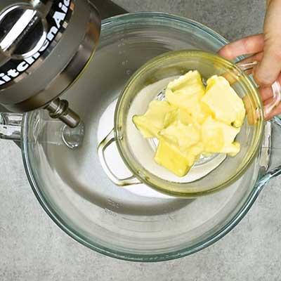 Strawberry Cream Cheese Bread Step 2 - Add butter.