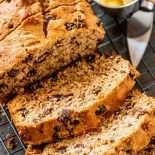 Baked Boston Brown Bread! This baked one-bowl version of Boston brown bread tastes just as good as the traditional way, flavored with dark hints of molasses and seasoned with raisins. | HomemadeHooplah.com