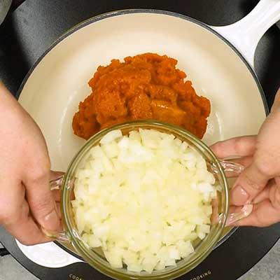 Pumpkin Soup Step 1 - Add onion.