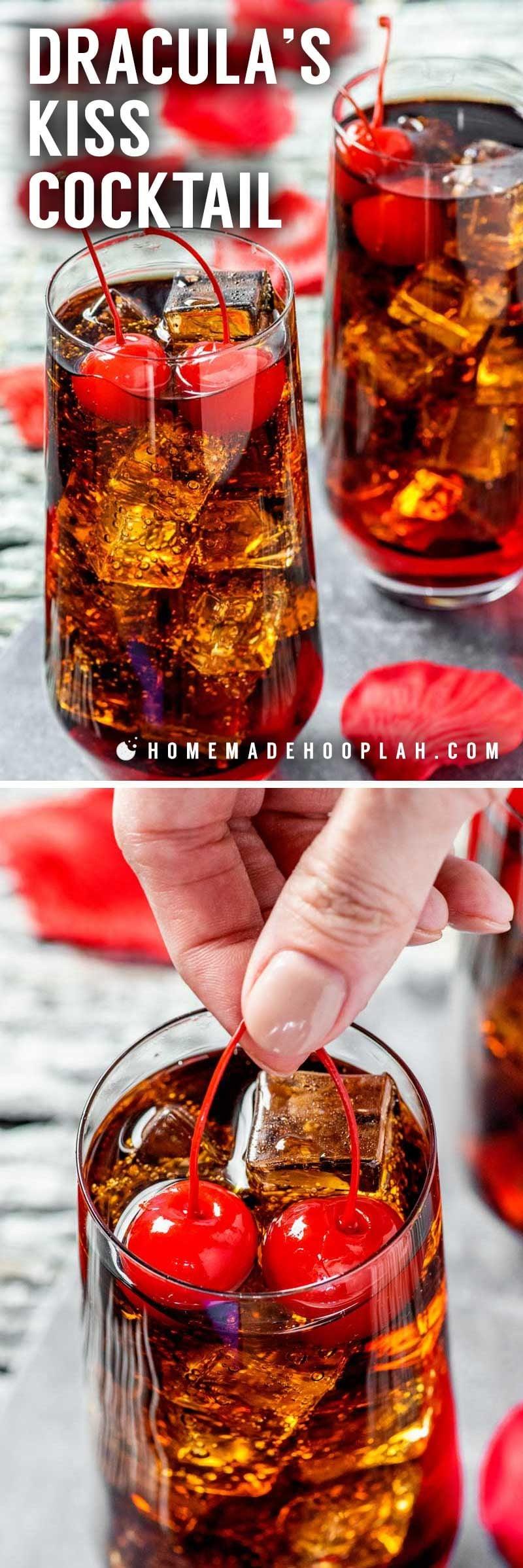 A vampire cherry Coke cocktail for Halloween.