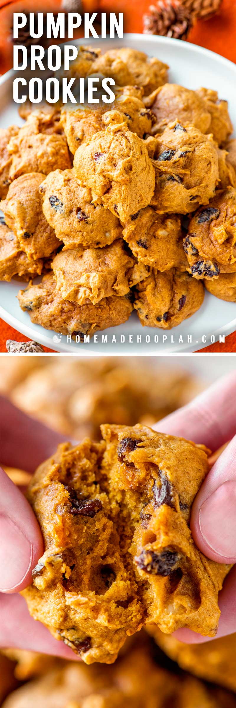 Pumpkin Drop Cookies! These ultra soft pumpkin drop cookies are laced with crunchy almonds and sweet raisins. They're the perfect treat to bake for festive fall comfort food. | HomemadeHooplah.com