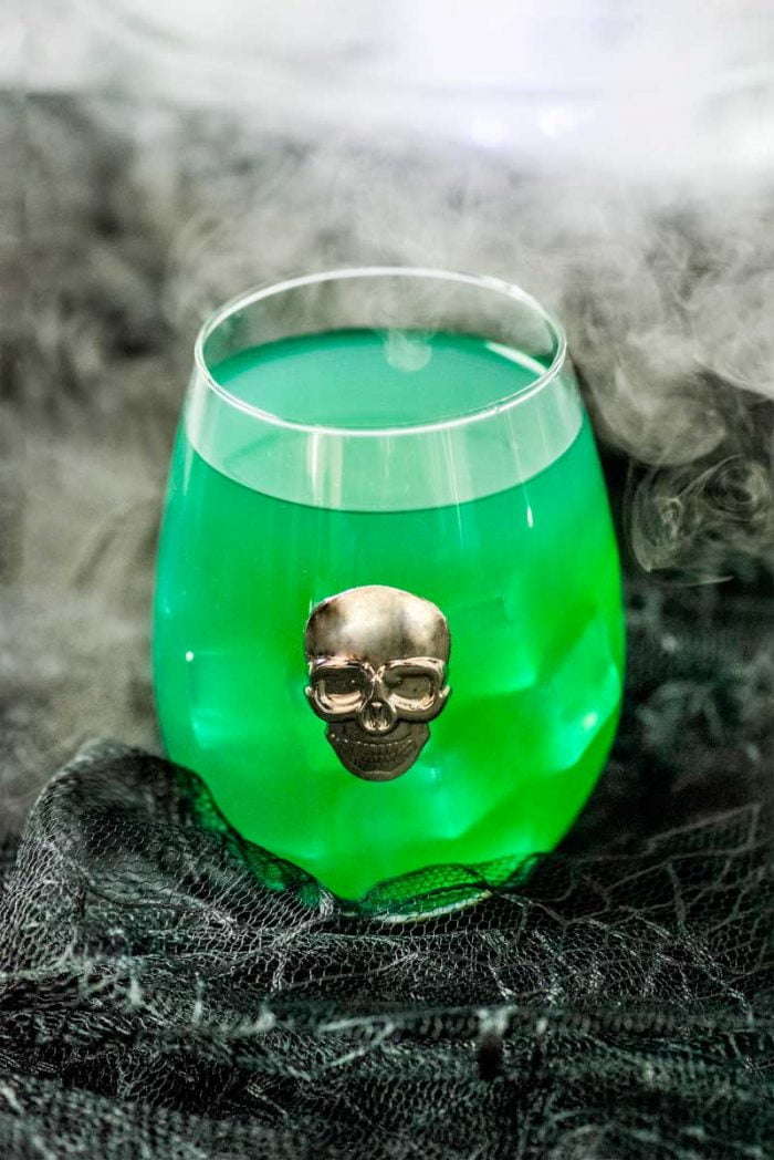 Skeletons in Your Closet Cocktail! This Skeletons in Your Closet Cocktail tastes like a spooky margarita and would be perfect for a fun Halloween party or to serve at a horror movie marathon!   HomemadeHooplah.com