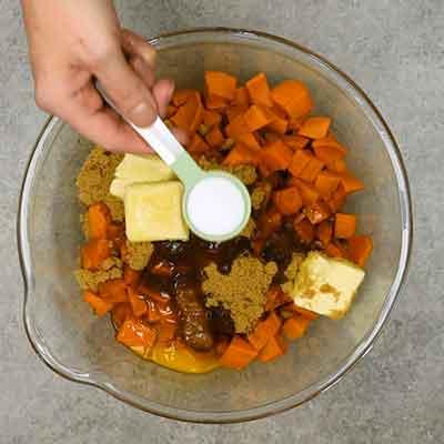 Sweet Potato Casserole Step 2 - Add salt.