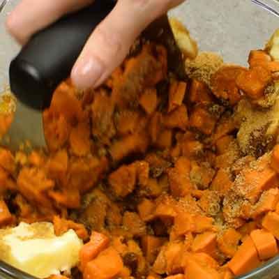 Sweet Potato Casserole Step 2 - Mash everything together.