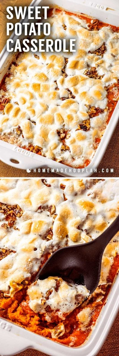Sweet Potato Casserole! This sweet potato casserole is the perfect combination of savory & sweet. Soft sweet potatoes are baked under a layer of pecans, brown sugar, and marshmallows. | HomemadeHooplah.com