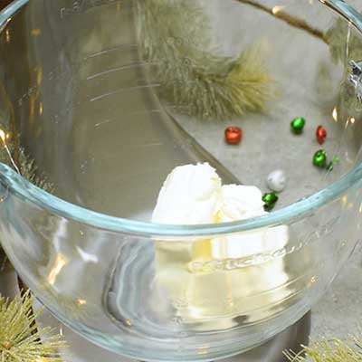 Eggnog Dip Step 1 - Add cream cheese.