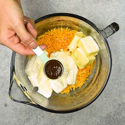 Easy Smoky Cheese Ball Step 1 - Add steak sauce.