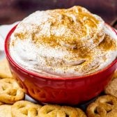 Eggnog Dip! Ultra fluffy and creamy, this eggnog dip is the perfect way to jazz up all your favorite holiday cookies. Perfect for eggnog lovers and can be made in advance!   HomemadeHooplah.com