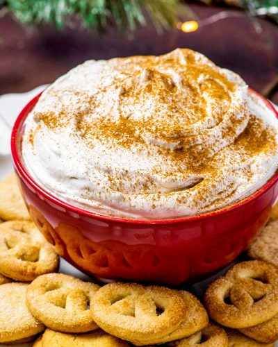 Eggnog Dip! Ultra fluffy and creamy, this eggnog dip is the perfect way to jazz up all your favorite holiday cookies. Perfect for eggnog lovers and can be made in advance! | HomemadeHooplah.com