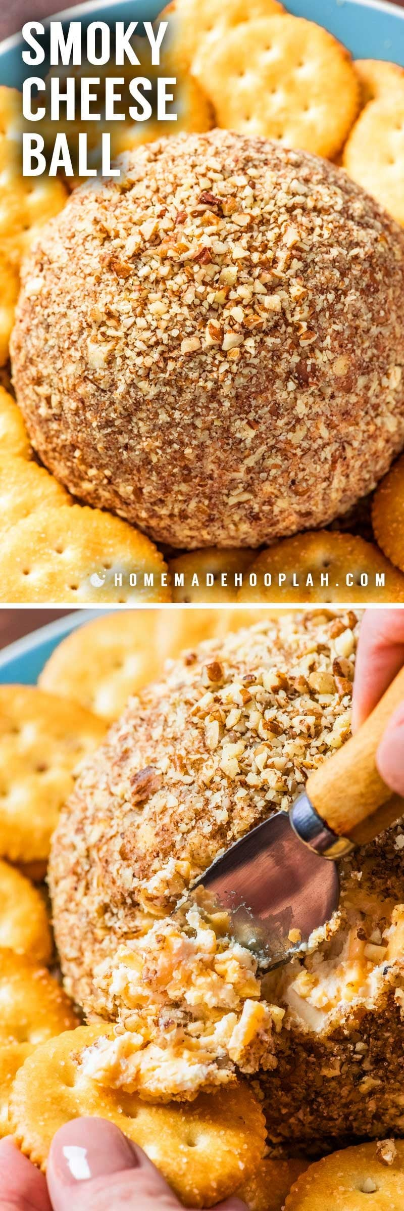 Cheese ball recipe with pecans and a smoky flavor.