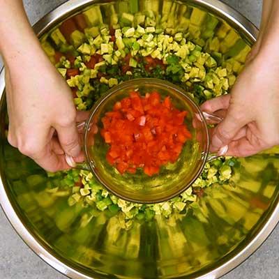 Cowboy Caviar Step 2 - Add red bell pepper.