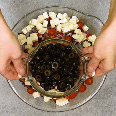 Italian Pasta Salad Step 2 - Add black olives.