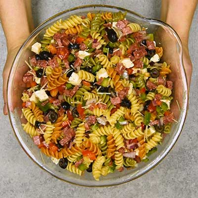 Italian Pasta Salad Step 2 - Toss to mix.