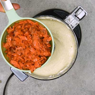 Smoked Salmon Dip Step 2 - Add smoked salmon.