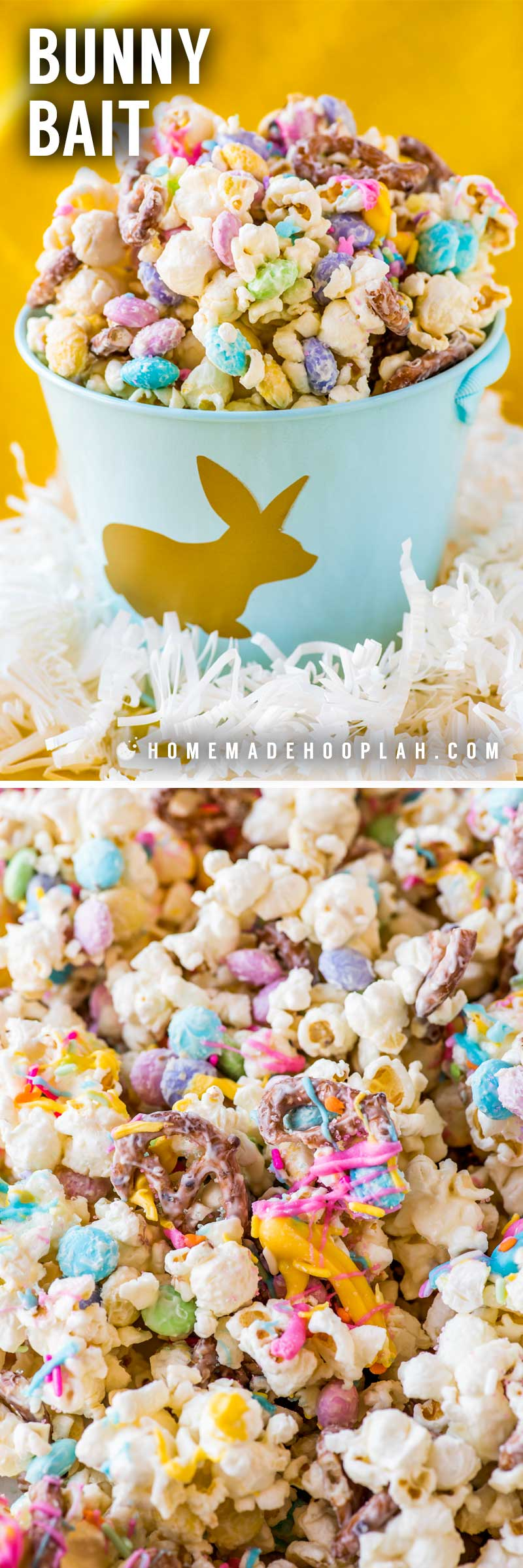Bunny Bait! Sometimes called bunny bait or Easter crack, this funfetti popcorn is a spring-themed snack mix of pastel-colored candy, sprinkles, and freshly popped popcorn. | HomemadeHooplah.com